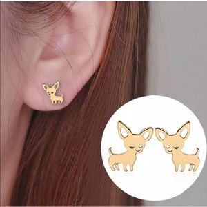 Jewelry - Bundle chihuahua stud earrings gold /silver tone